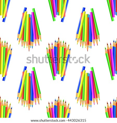 Colorful Pencils Isolated on White Background. Colored Pencils Seamles Pattern - stock photo