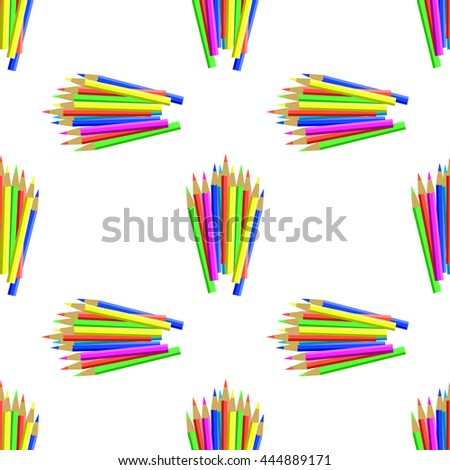 Colorful Pencils Isolated on White Background. Colored Pencils Seamless Pattern - stock photo