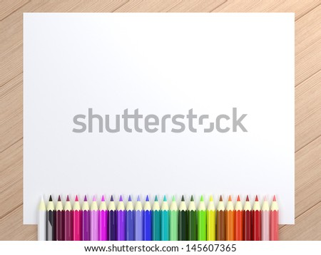 Colorful pencils on blank  White Paper