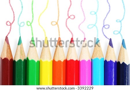 Colorful pencils with hand-drawn lines. - stock photo