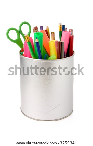 colorful pencils with white background - stock photo