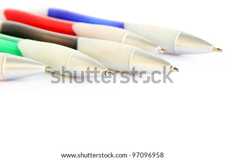 Colorful pens isolated on white background.