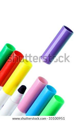 Colorful pens isolated over the white background