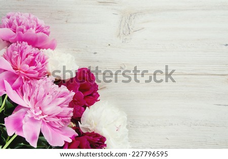 colorful peonies on white wooden surface - stock photo