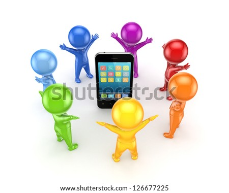Colorful people around mobile phone.Isolated on white background.3d rendered. - stock photo