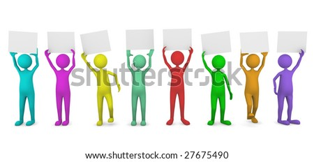 Colorful people holding paper cards - stock photo