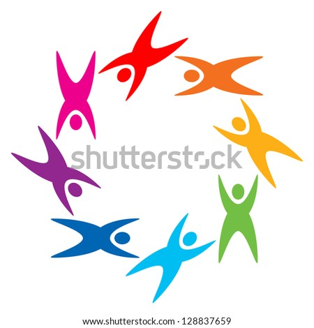 colorful people logo, abstract raster illustration - stock photo