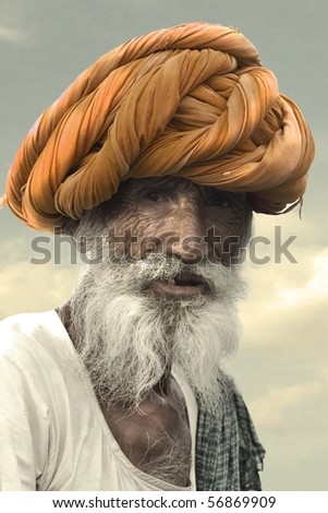 Colorful people of Rajasthan, India - stock photo