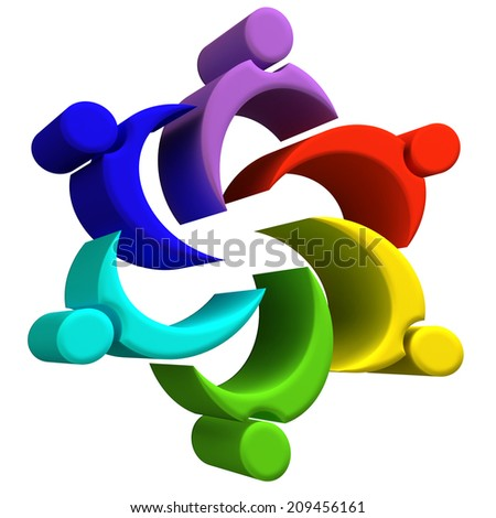 Colorful people or children icons.Team building concept 3D image design - stock photo