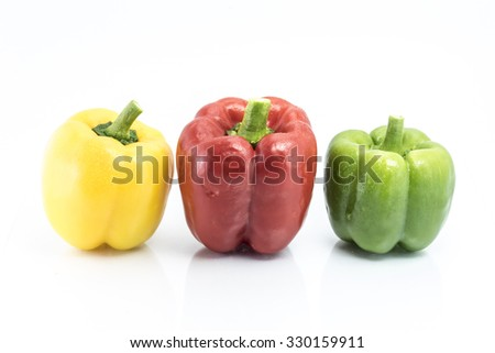colorful pepper isolated on white background, Homegrown vegetable