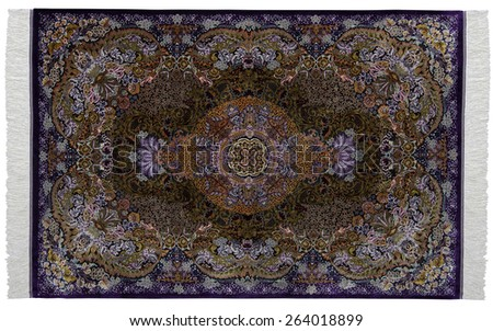 Colorful persian rug with oriental ornaments isolated on white background - stock photo