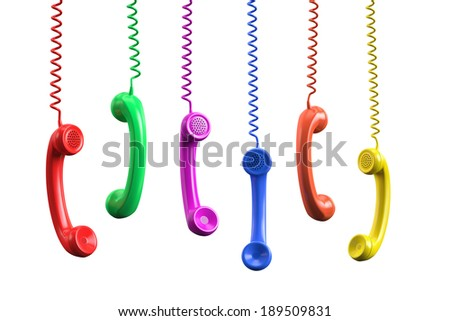 Colorful Phone Receivers , Clipping path , 3d render - stock photo