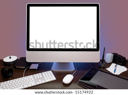 Colorful photo of a photographer's desk or workstation. - stock photo