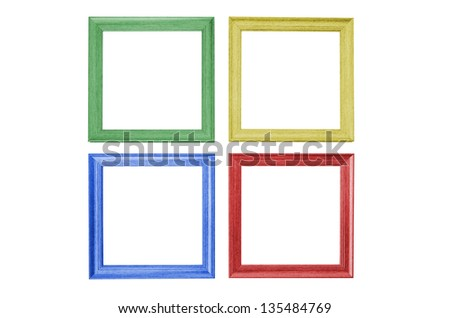 colorful picture frames isolated on white background - stock photo