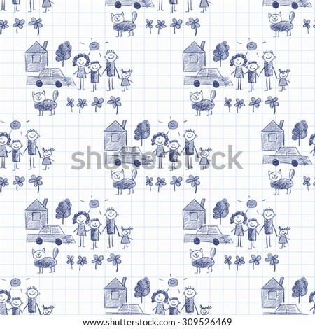 Colorful picture of happy family. Kids drawing style - stock photo