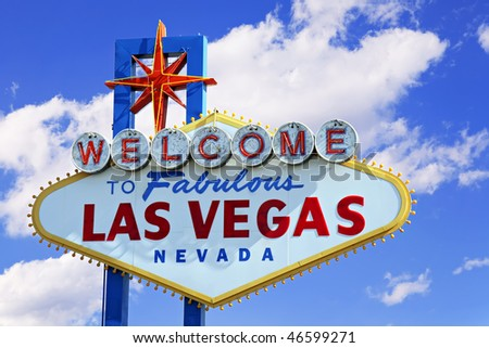 Colorful picture of the Welcome to Fabulous Las Vegas sign. - stock photo