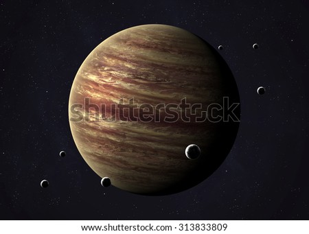 Colorful picture represents Jupiter and its moons. Elements of this image furnished by NASA. - stock photo