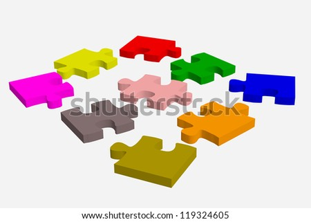 Colorful pieces of puzzle on a white background