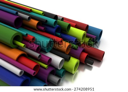 Colorful Pilastic Pipes - stock photo