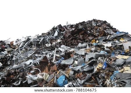 Colorful pile of metal trash isolated on a white background