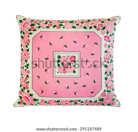 Colorful pillow isolated on white background. This has clipping path. - stock photo