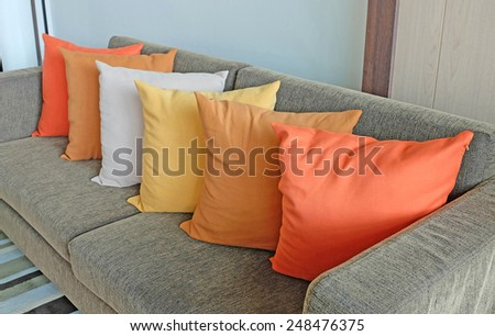 colorful pillows in room  - stock photo