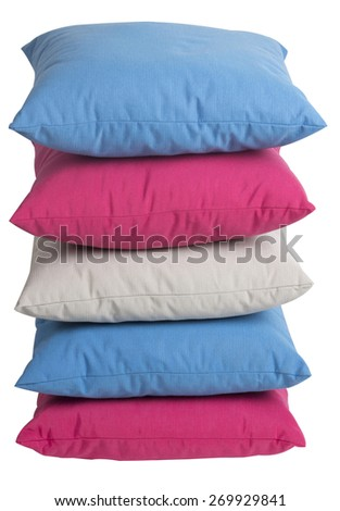 Colorful pillows isolated on white with clipping path - stock photo