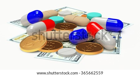 Colorful pills and money isolated on white. High costs of expensive medication concept.