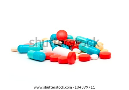 colorful pills  isolated on white