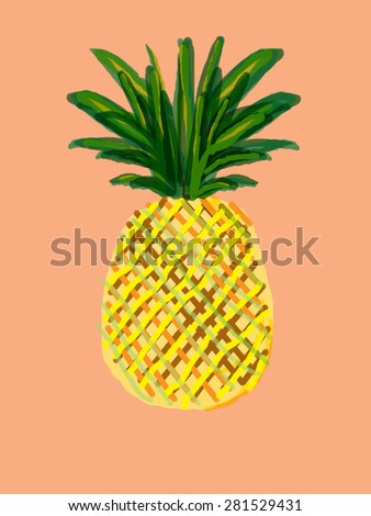 colorful pineapple drawing on orange background - stock photo
