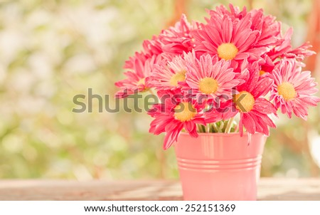 colorful pink daisy gerbera flowers in a vase on bokeh background ( Vintage retro pastel tones.) - stock photo