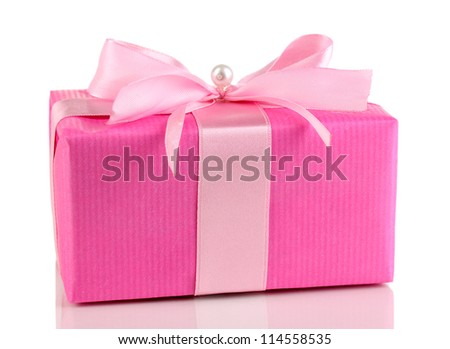 Colorful pink gift with bow isolated on white - stock photo