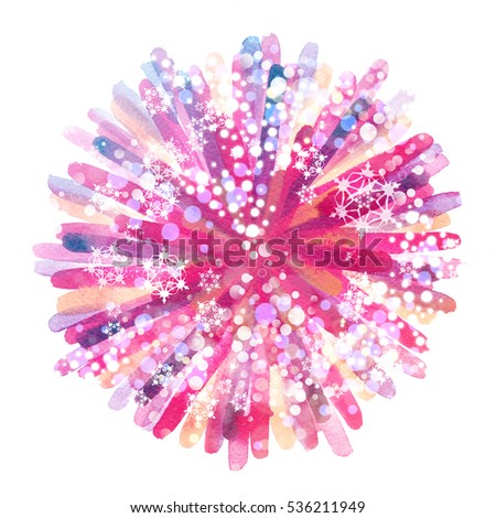 Colorful pink watercolor fireworks. Hand painted festive element. Snowflakes and bokeh lights. Abstract christmas splash texture.