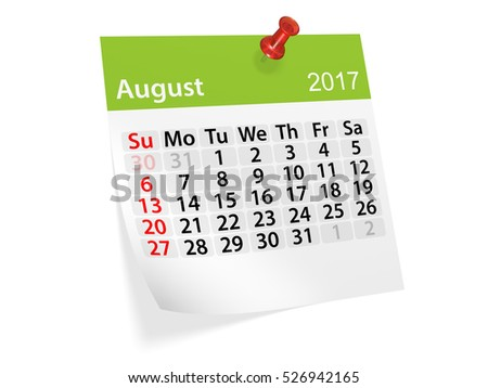 Colorful pinned note monthly calendar for August 2017. Set of monthly calendars for year 2017. Pinned note calendar series. 3d illustration