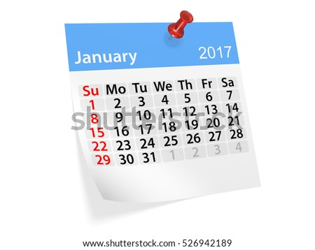 Colorful pinned note monthly calendar for January 2017. Set of monthly calendars for year 2017. Pinned note calendar series. 3d illustration