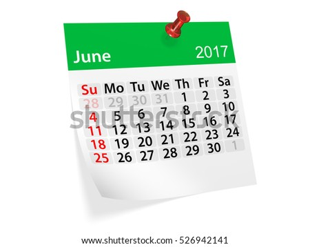 Colorful pinned note monthly calendar for June 2017. Set of monthly calendars for year 2017. Pinned note calendar series. 3d illustration