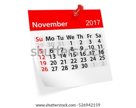 Colorful pinned note monthly calendar for November 2017. Set of monthly calendars for year 2017. Pinned note calendar series. 3d illustration