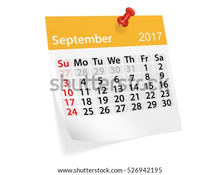 Colorful pinned note monthly calendar for September 2017. Set of monthly calendars for year 2017. Pinned note calendar series. 3d illustration