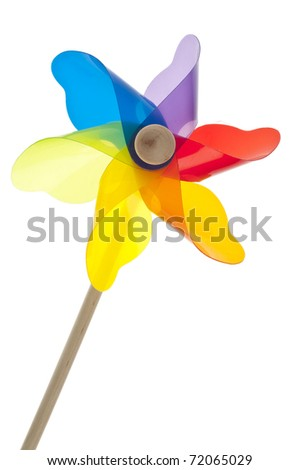 Colorful Pinwheel Isolated on White with a Clipping Path. - stock photo
