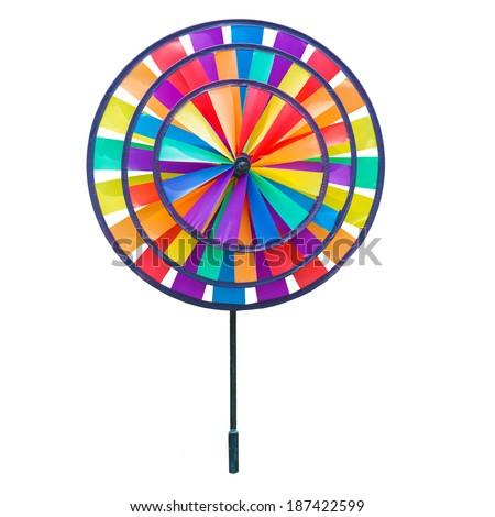 Colorful pinwheel toy isolated on white background - stock photo