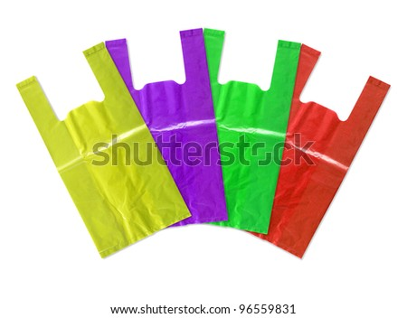 colorful plastic bag isolated on white background - stock photo