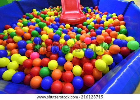 colorful plastic balls on children's pool playground - stock photo
