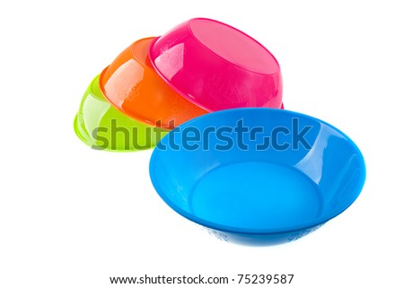 colorful plastic bowl - stock photo