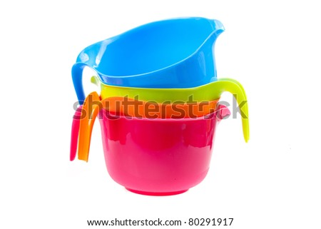 colorful plastic bowl - stock photo