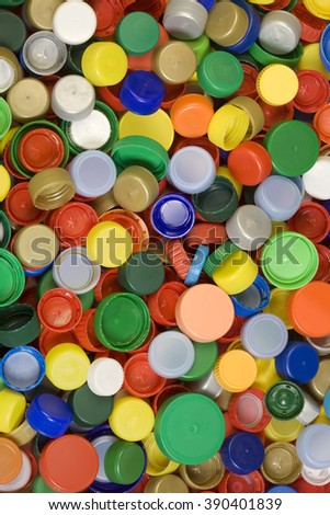 Colorful Plastic Caps Background Texture - stock photo