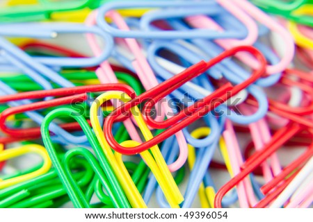 colorful plastic coated paper clips