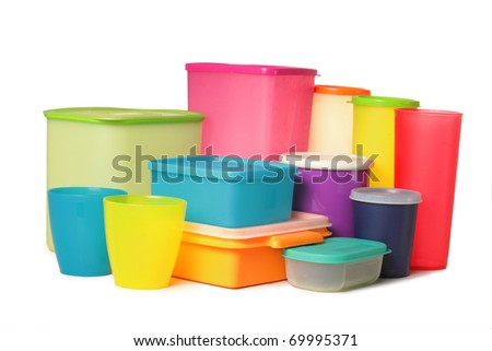 colorful plastic container over white background - stock photo
