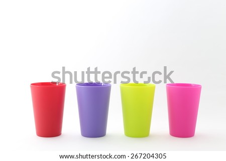 colorful plastic cup - stock photo