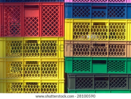 Colorful Plastic Industrial Storage Contains as Design Element - stock photo