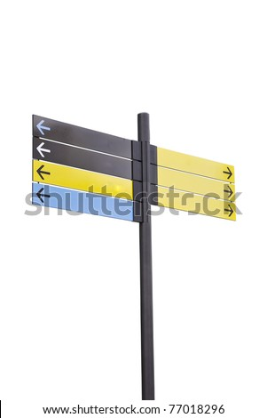 Colorful plastic informational signs with arrows. Show the direction. Isolation on white background. - stock photo